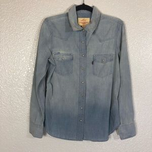 Levi's Chambray Snap Button Down Western Top